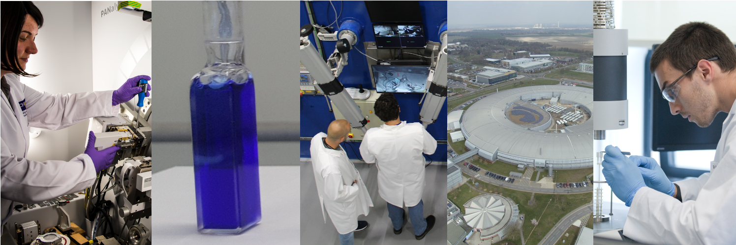 Left to right: scientist at University of Manchester Dalton Cumbrian Facility; actinide complex in solution at Centre for Radiochemistry Research; MRF hot cell wall; aerial view of Diamond Light Source; Multimodal thermal analysis in the HADES facility