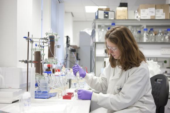 Scientist working on sediment column